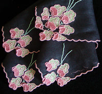 Madeira Pink Trembler Flowers on Black Linen Vintage Handkerchief, Anice