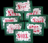 Tammis Keefe NOEL Vintage Linen Cocktail Napkins, Set of 8