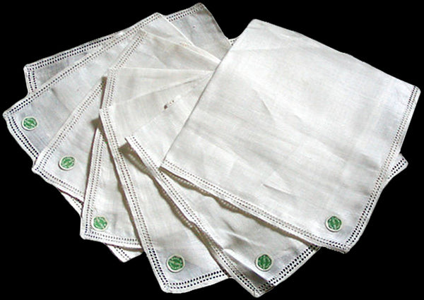 Double Spoke Vintage Irish Linen Handkerchiefs, Set of 7 New Old Stock