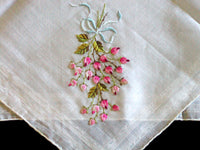 Bow-Tied Roses Embroidered in Pink Vintage Handkerchief
