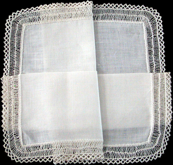 Hairpin Lace and White Linen Vintage Wedding Handkerchief
