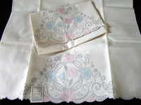 PR Madeira Embroidered Pastel Applique Vintage Pillowcases NOS