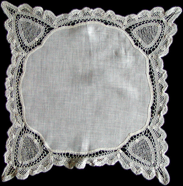 Antique Linen & Bobbin Lace Wedding Handkerchief