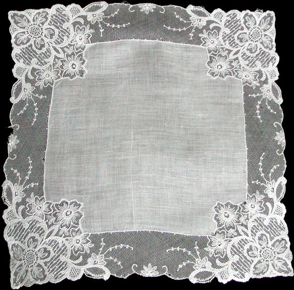 Floral Deco Lace Border Vintage White Wedding Handkerchief