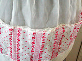 Sheer White Vintage Nylon Apron w Red Flocking & Lace