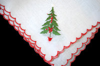 Christmas Trees Embroidered Vintage Handkerchief