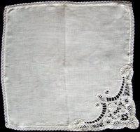 Antique Linen & Bobbin Lace Heirloom Wedding Handkerchief
