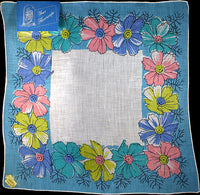 October Flower of the Month Vintage Linen Handkerchief Kimball B