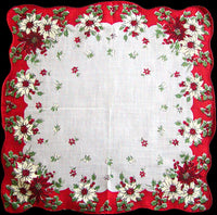Old Fashioned Poinsettias Vintage Christmas Handkerchief