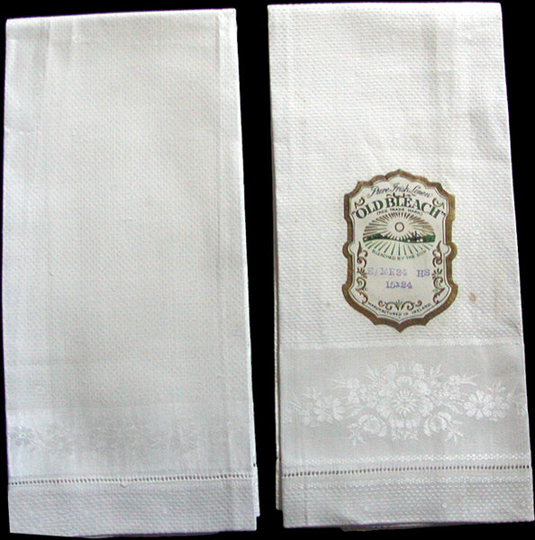 Old Bleach Vintage Irish Linen Damask Guest Towels, Pair
