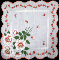Orange and White Zinnias Vintage Handkerchief Philippine Made