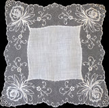 Embroidered Orchids Lace Vintage Wedding Handkerchief