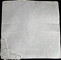 Fancy Embroidered White Organdy Corner Vintage Handkerchief