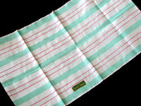 Turquoise and Pink Stripes Vintage Irish Linen Kitchen Tea Towel