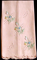 Garden Flowers Vintage Madeira Embroidered Guest Towel, Peach