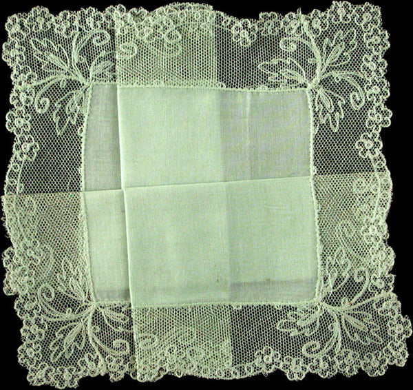 Garden Green Linen and Lace Vintage Wedding Handkerchief