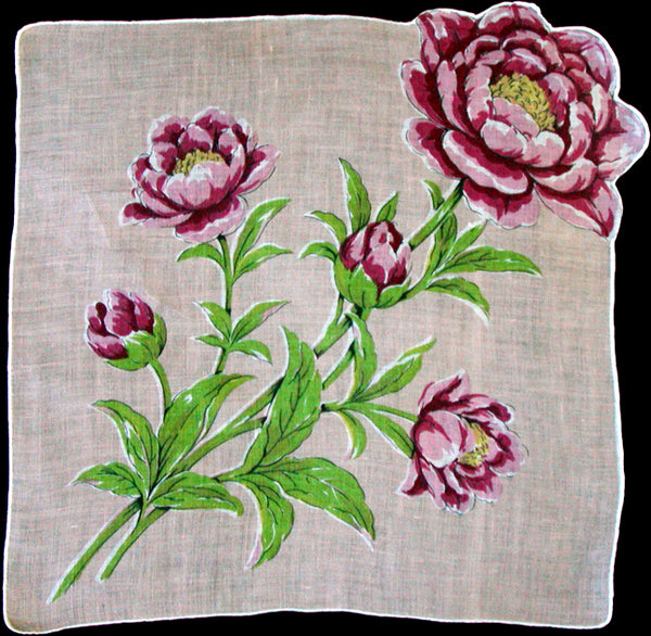 Pink Peonies on Irish Linen Vintage Handkerchief Hand Rolled