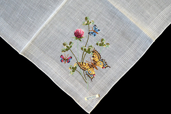 Butterflies Petit Point Embroidered Vintage Handkerchief