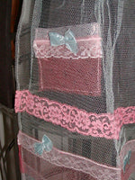 Sheer Frilly Pink Blue Tulle w Lace, Bows Vintage Hostess Apron