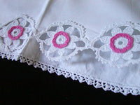PR Pink and White Daisy Crochet Lace Vintage Pillowcases, Tubing