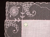 Pink Cornucopia Embroidered Lace Vintage Wedding Handkerchief