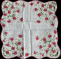 Dogwood and Pink Floral Vintage Floral Handkerchief