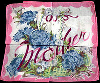 Pink Mother Basket of Carnations Vintage Handkerchief