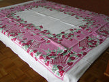 Strawberries and Wicker Baskets Vintage Tablecloth 52x62