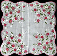 Pink Anemones and White Flowers Vintage Floral Handkerchief
