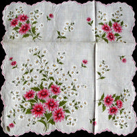 Pink Shasta and White Daisies Vintage Floral Handkerchief