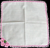 Pansies in Pink Crochet Lace Vintage Handkerchief