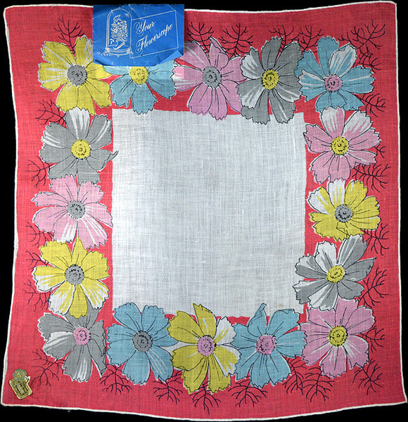 October Flower of the Month Vintage Linen Handkerchief Kimball P