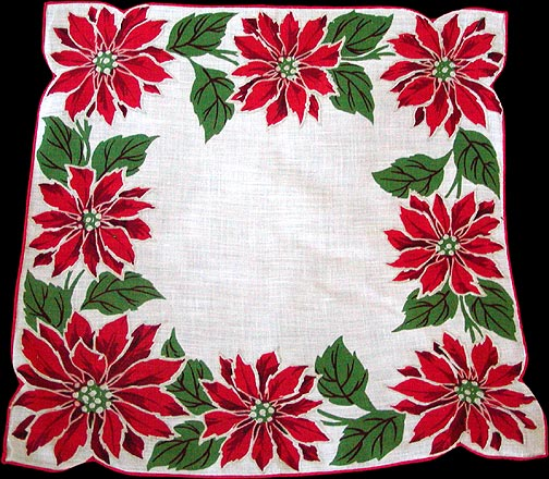 Red Poinsettia Border Vintage Christmas Handkerchief