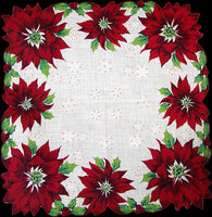 Poinsettia Shaped Edges Vintage Christmas Handkerchief