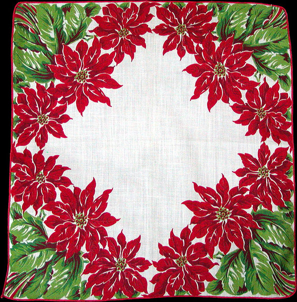Christmas Poinsettias Corner Borders Vintage Handkerchief