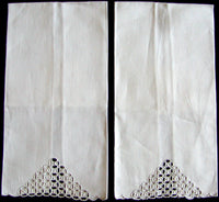 Compasswork Marghab Ponto Grega Embroidered Linen Towels, Pair
