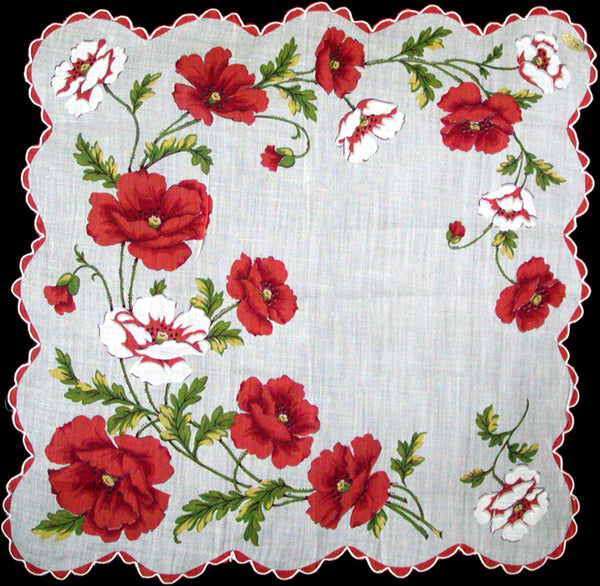Red and White Poppies Vintage Handkerchief Philippine Made