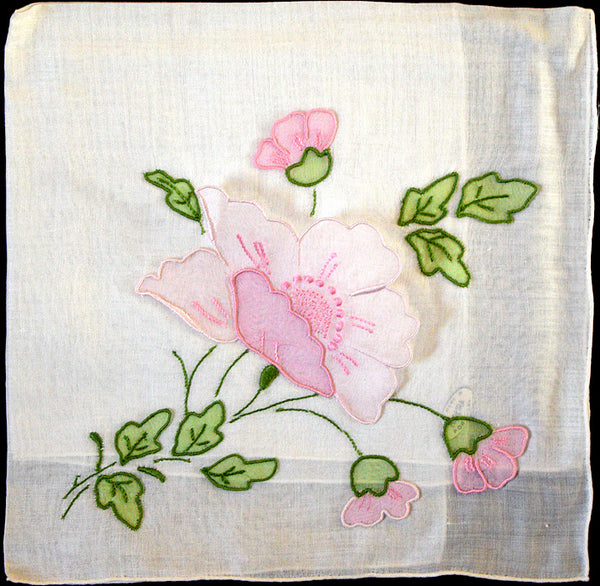 Poppies Detached Organdy Applique Vintage Handkerchief Madeira