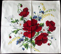 Red Poppies Blue Bachelor Buttons Vintage Wilendur Napkins Set