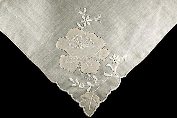 Embroidered Poppy Tan and White Madeira Vintage Handkerchief