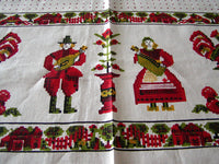 Country Sampler Parisian Prints Vintage Linen Tablecloth 52x70