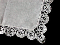 Antique Linen & Handmade Lace Wedding Handkerchief