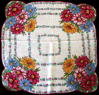 Primary Color Daisies Vintage Irish Linen Handkerchief