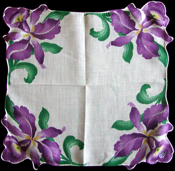 Purple Orchids Vintage Handkerchief Hand Rolled