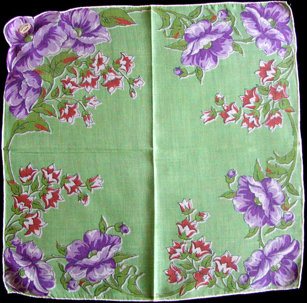Purple Poppies on Green Vintage Handkerchief, Hand Rolled