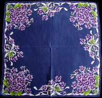 Purple Violets & Ribbons on Navy Vintage Handkerchief Burmel