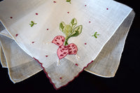 Hand Embroidered Garden Radishes on Linen Vintage Handkerchief