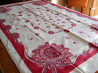 Red Maroon Nosegays Vintage Tablecloth 40x62