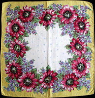 Red Sunflowers Border Vintage Handkerchief