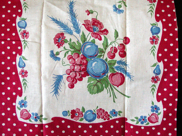 Startex Fruit Floral & Polka-Dots Vintage Kitchen Tea Towel NOS